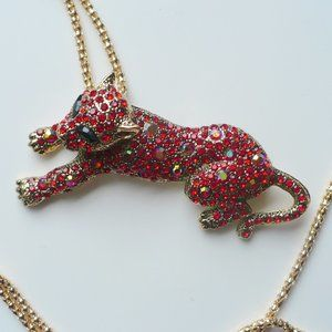 """❤️ RED Cat Rhinestones Necklace & Brooch 24"""" Chain"""